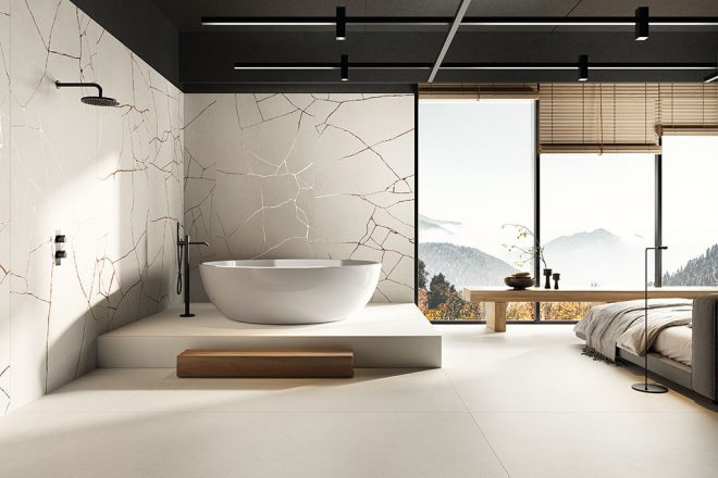 Piastrelle-bagno_Ceramiche-Coem_WideGres280_Cement-Effect_Ivory-120x280_Metal-Groove-Ivory-120x280
